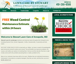 Webpage Design for Annapolis, Maryland Landscape Contractor