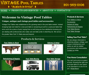 Jersey Pool Table Dealer Website Designers