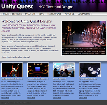 Website design for NYC Lighting and Sound Technician