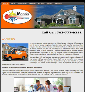 The original webpage design for this Northern VA HVAC Contractor