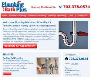 Webpage Design for Chantilly, Virginia Plumber