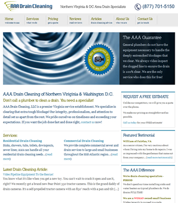 Virginia And Washington Dc Drain Cleaner Website Design