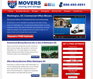Washington DC Moving Company Webpage Design