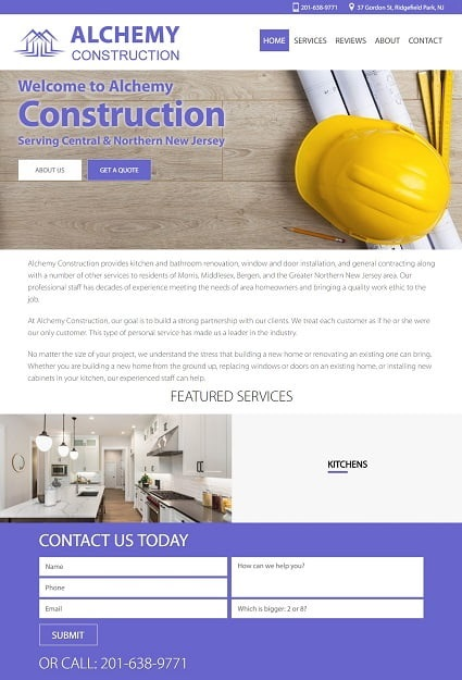 Website Design for Alchemy Construction in NJ