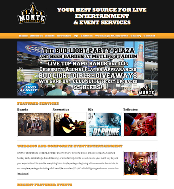 Redesigned Website for New Jersey Entertainment Services Company
