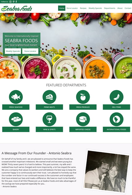 webpage design for food market