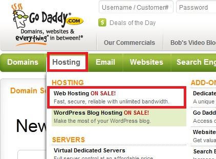 Select the Web Hosting link from Godaddy.com