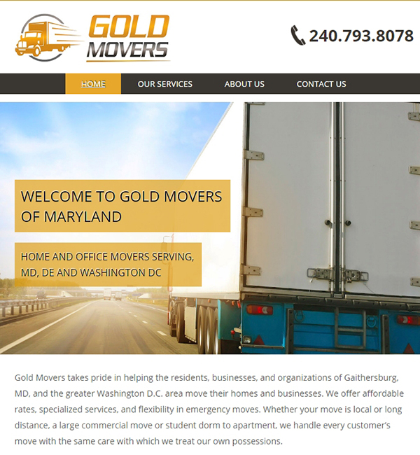 website for Maryland home moving company