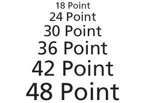 ideal font sizes