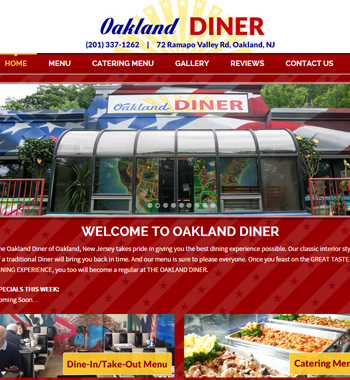 Website design for diner in Oakland, New Jersey