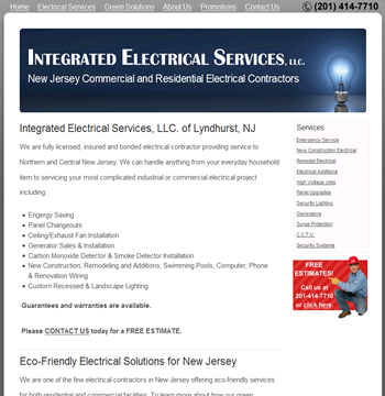 New website design for New Jersey Electrical Contractor