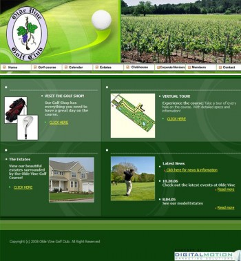 Original Golf Course Website Design
