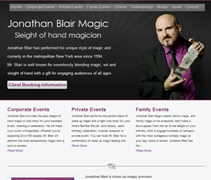 Website Design for NYC Magician