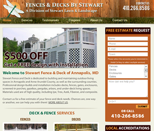 Annapolis, MD Fence Contractor Webpage Design