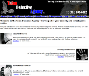 Website design for maryland private investigator