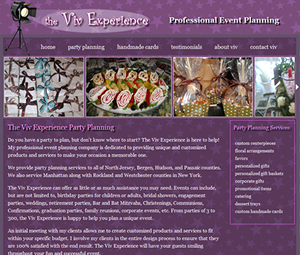 Website Design for New Jersey Party Planner