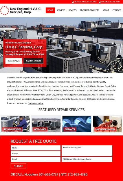 New England HVAC Services after redesign