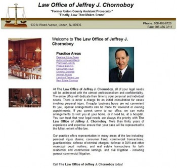 The original website design for this Linden, New Jersey attorney.