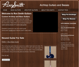 Web Design for Pennsylvania Guitar Luthier