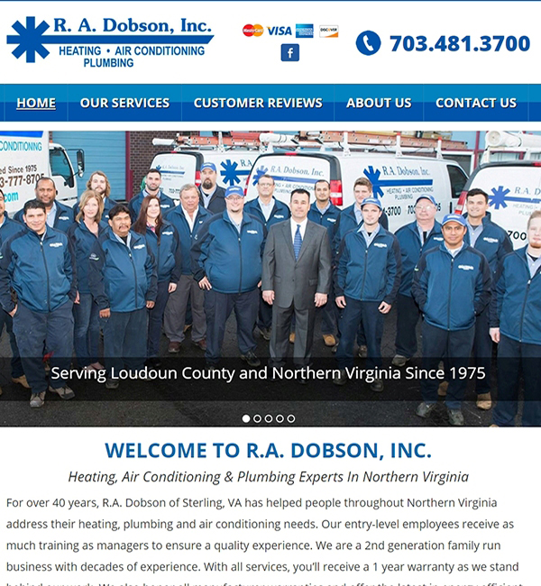 webpage for Virginia HVAC contractor