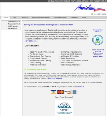 Original website design for Virginia Contractor