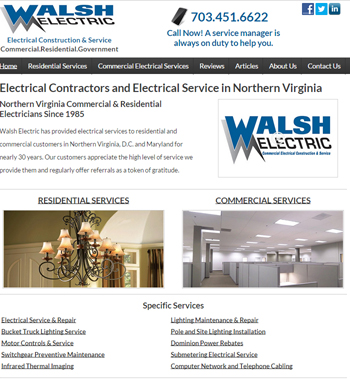 viriginia elelctrician website design