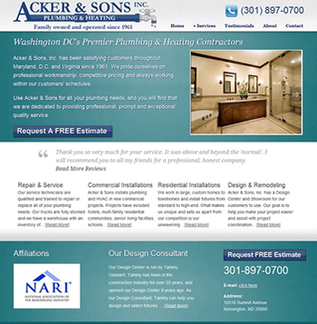 Website design for Washington DC Plumber