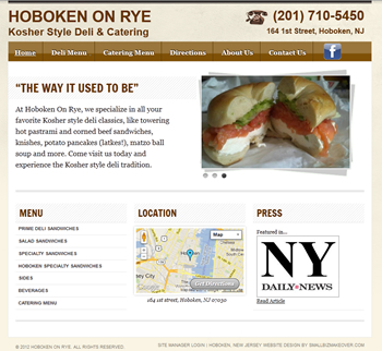 The webpage we designed for this Hoboken, New Jersey deli