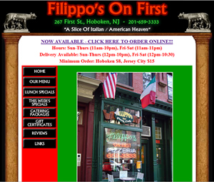 Website design for hoboken new jersey pizzeria