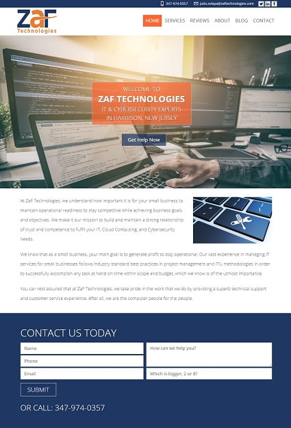 ZaF Technologies after redesign